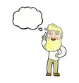 cartoon happy bearded man with idea with thought vector image
