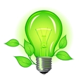Incandescent lamp with green leaves vector image