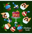 Set of desserts for the Christmas time 10 icons vector image