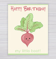 greeting card with cute smile beet on a wooden vector image
