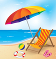 Beach and Umbrella and Chair Summer Beach vector image