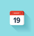 August 19 Isometric Calendar Icon With Shadow vector image