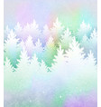 christmas background with frosty winter forest vector image