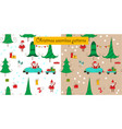 christmas seamless patterns with santa and a car vector image