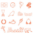 orange brazil outline icons and symbols set eps10 vector image