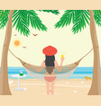 pretty woman relax on the beach cradle after hard vector image