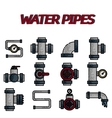 Water Pipes flat icon set vector image