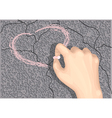 heart on asphalt vector image