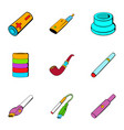 accumulator icons set cartoon style vector image
