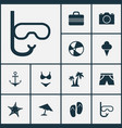 hot icons set collection of star tube bikini vector image