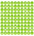 100 veterinary icons set green circle vector image