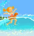 swimming girl vector image