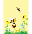 flowering meadow and bees vector image