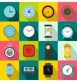 Clocks icons set flat style vector image