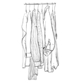 Doodles wardrobe sketch Clothes on the hangers vector image