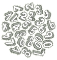 Hand drawn 3D numbers vector image