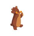 happy brown bear dancing with maracas cartoon vector image