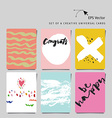 Set of 6 universal creative cards with hand letter vector image