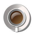 white mug of coffee with saucer vector image