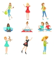 Women And Girls Different Lifestyle Activities vector image