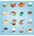 Coffee and tea isometric set vector image