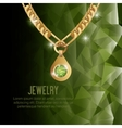 icon necklace gold gem isolated vector image