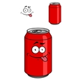 Red soda can with a goofy comical look vector image vector image