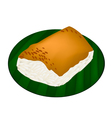 Sticky Rice with Steamed Custard on Banana Leaf vector image vector image