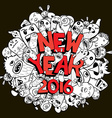new year 2016 doodle hipster background vector image