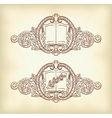 vintage decor with an open book and a laurel branc vector image vector image