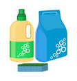 bleach bottle with sponge package of washing vector image