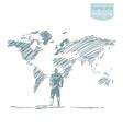 Businessman world map connection concept vector image