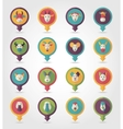 Farm animals mapping pins icons vector image
