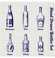 Hand drawn bottles sketch set vector image
