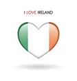 love ireland symbol flag heart glossy icon on a vector image