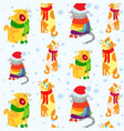 seamless pattern with christmas cats vector image