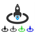 space rocket launch area flat icon vector image