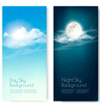 Two contrasting sky banners - Day and Night vector image