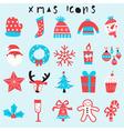 happy christmas icon set vector image
