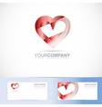 Red heart 3d logo symbol vector image
