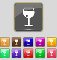 glass of wine icon sign Set with eleven colored vector image