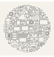 Gadgets and Devices Line Icons Set Circle Shape vector image