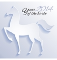 Paper horse New year card vector image