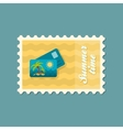 Card with palm flat stamp summertime vector image