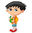 Cartoon boy holding green fruit vector image
