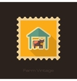 Cowshed retro flat stamp with long shadow vector image