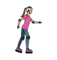drawing girl roller skate activity vector image