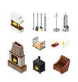 fireplace isometric elements set vector image