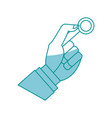 hand man business with coin money icon vector image
