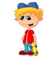 Happy little kid holding skateboard vector image